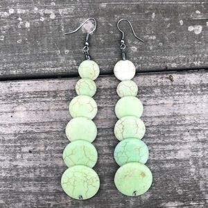 Stone-like Beaded Dangle Earrings